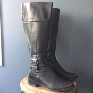 cole haan fabrizio black leather tall boots